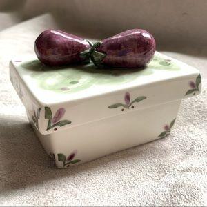 Hand built Ceramic Eggplant Lidded Box